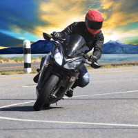 Guy driving motorcycle