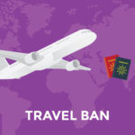 Travel Ban with airplane and passports