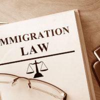 Immigration Law on table with book and glasses