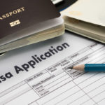 Visa application form to travel Immigration a document Money for Passport Map and travel plan