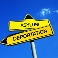 Yellow road signs that read asylum and deportation